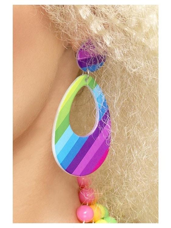 1980s Neon Teardrop Earrings