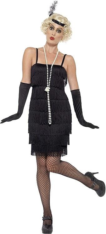 1920s Charleston Flapper Costume black X2
