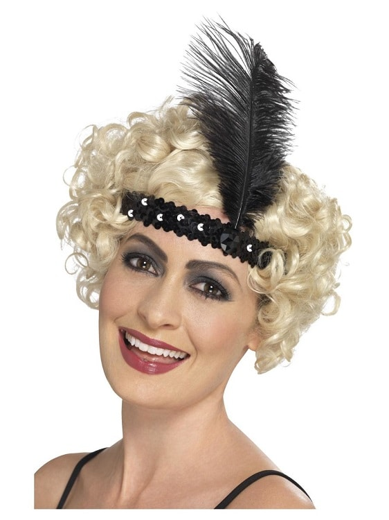 1920s Sequin Flapper Headband Black