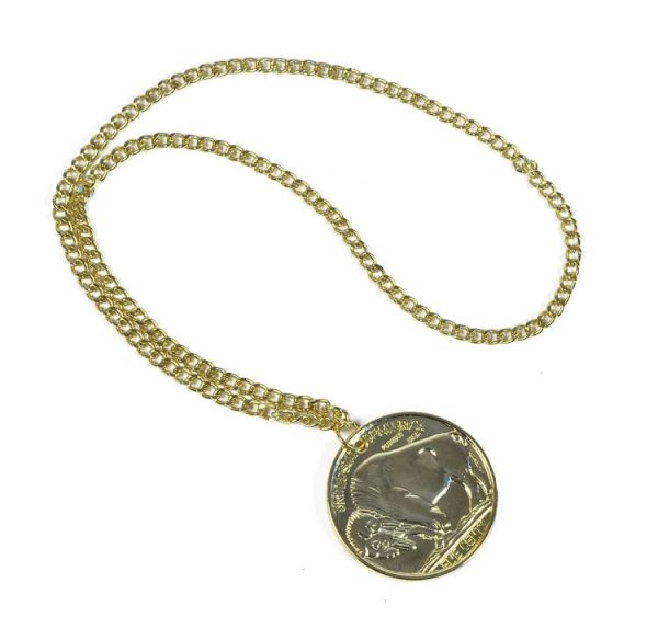 1970s Gold Coin Medallion Necklace