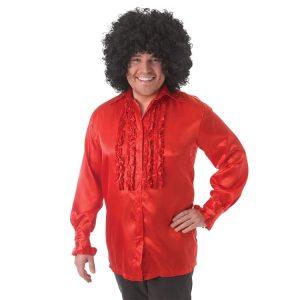 1970s Red Satin Ruffle Shirt