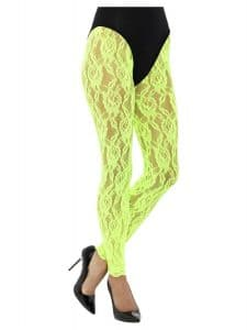 1980s Lace Leggings Neon Green