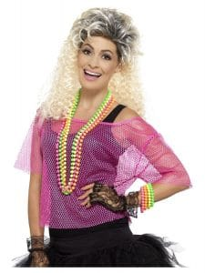 1980s Neon Pink Fishnet Top Large - X Large