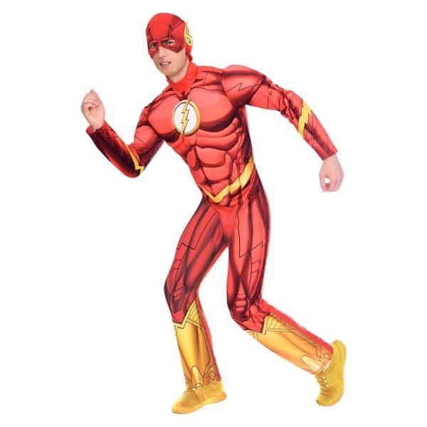 Adult Mens Official Warner Bros DC Comics Licensed The Flash Fancy Dress Costume (Medium)