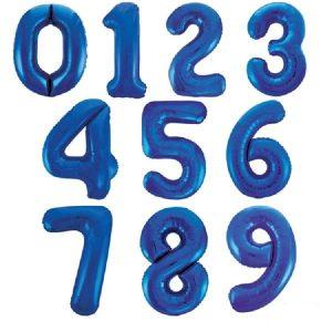 Blue Super Shape Number Balloons