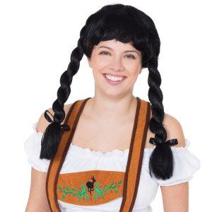 Oktoberfest Black Pigtail Wig