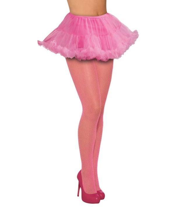 Womens Glitter Pink Fishnet Stockings