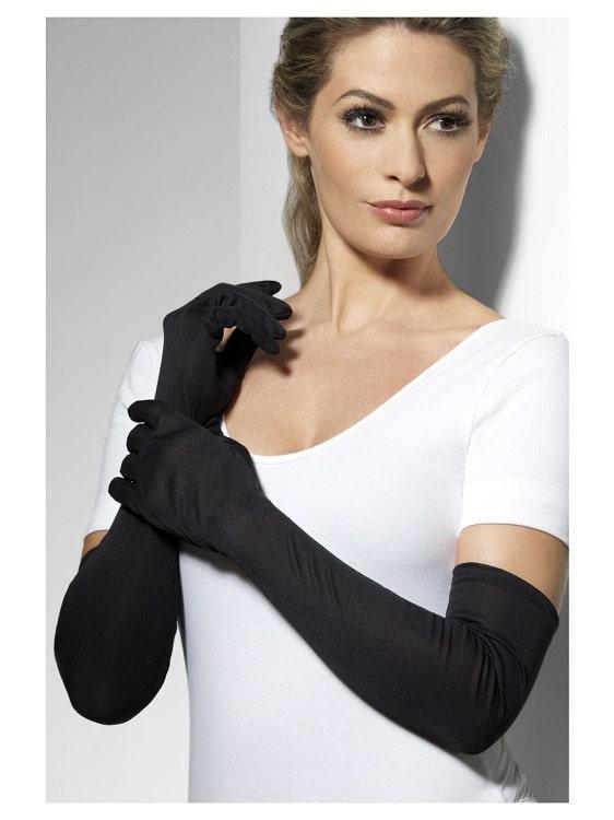 Womens Long Black Elbow Length Gloves