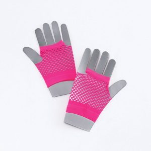1980s Neon Short Pink Fishnet Gloves