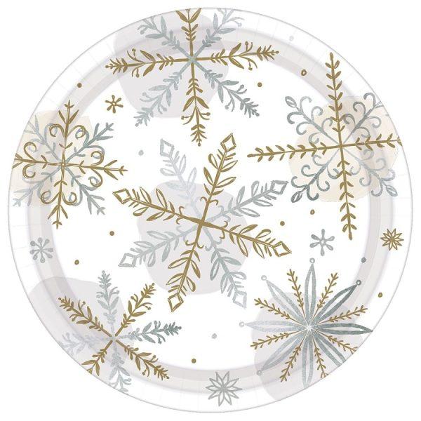 Christmas Shining Snow Metallic Paper Plates 18cm PK8