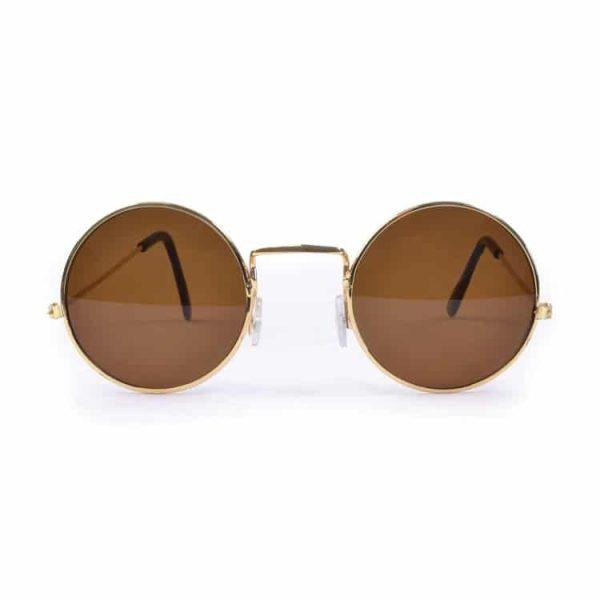 John Lennon Hippie Style Round Dark Brown Sunglasses