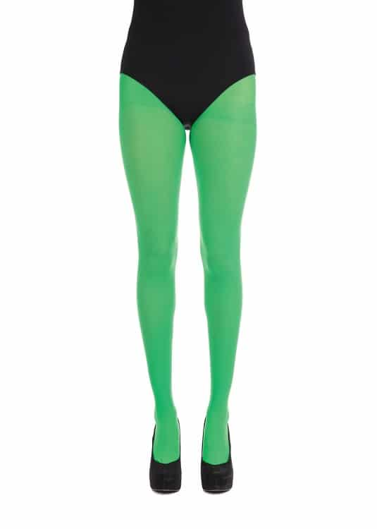 Womens Green Opaque Tights